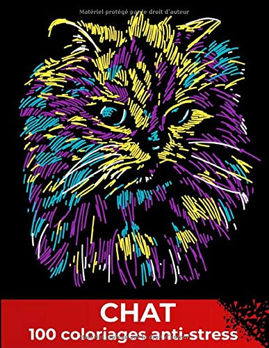 Chat 100 coloriages anti stress
