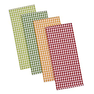 DII Cotton Heavyweight Plaid Dish Towels Kitchen Gift, 18 x 28  Set of 4, Drying and Cleaning Kitchen Towels for Everyday Cooking and Baking-Pea Patch Check