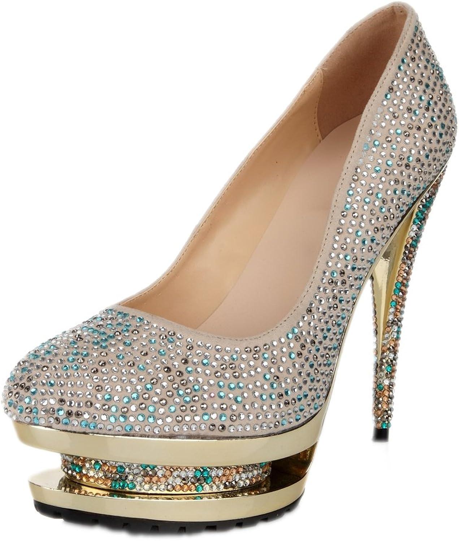 Lacitena Ladies color Diamond High Heels, Rhinestone Platform shoes, Party Dress shoes
