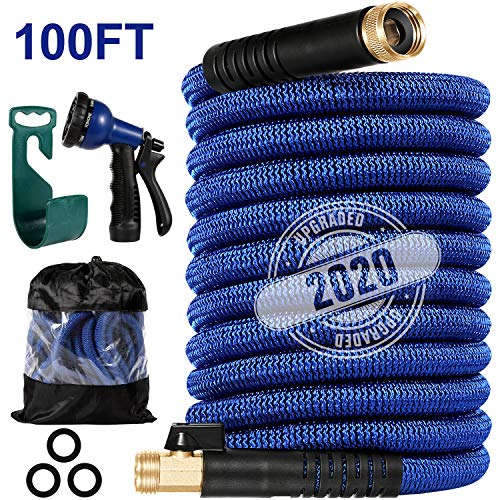 LINQUO 100 ft Garden Hose, All New 2020 Expandable Water Hose with 3/4' Solid Brass Fittings, Extra Strength Fabric - Flexible Lightweight Expanding Gardening Hoses with Free Water Spray Nozzle