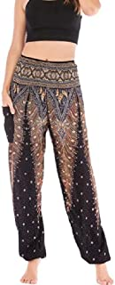 DressU Women's Yoga Middle East African Style Floral Spring High-Waisted Slim Pencil Trousers