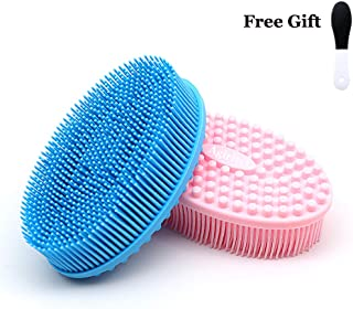 Agirlvct 2 Pack Silicone Loofah Body Scrubber,Soft Bath Brush Loofa Back Scrubber Wash Face for Shower Massaging Spa Gym Birthday Gift for Baby Kids Wife Men Women Family (Blue &Pink)