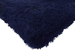 ACTCUT Super Soft Indoor Modern Shag Area Silky Smooth Rugs Fluffy Anti-Skid Shaggy Area Rug Dining Living Room Carpet Comfy Bedroom Floor 4- Feet by 5- Feet (Navy)