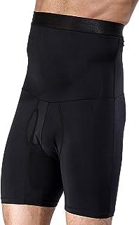 Shaxea Men's High Waist Tummy Abdomen Leg Control Shapewear Shorts Anti-Curling Slimming Body Shaper Underwear Boxer Brief