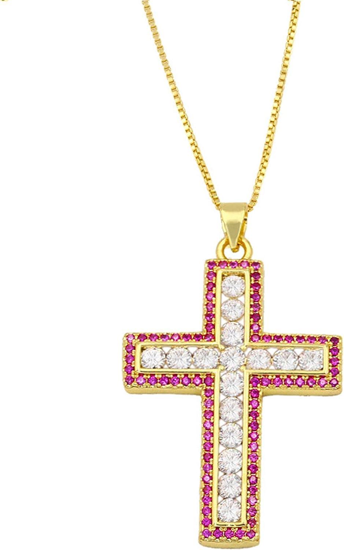 SWAOOS Shine Rhinestone favorite Cross shopping Pendant Gold Plating Char Necklace