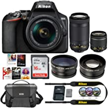 Nikon D3500 DSLR Camera with 18-55mm VR and 70-300mm Lenses Bundle with Camera Case, Software, 16GB Card and Accessories (7 Items)