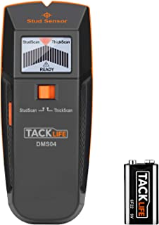 Stud Finder Wall Scanner, 3 in 1 Edge Finding Electronic Wall Detector Finders with Sound Warning, Two Scan Modes for Wood Stud/Metal/Live AC Wire Detection - DMS04, Black/orange