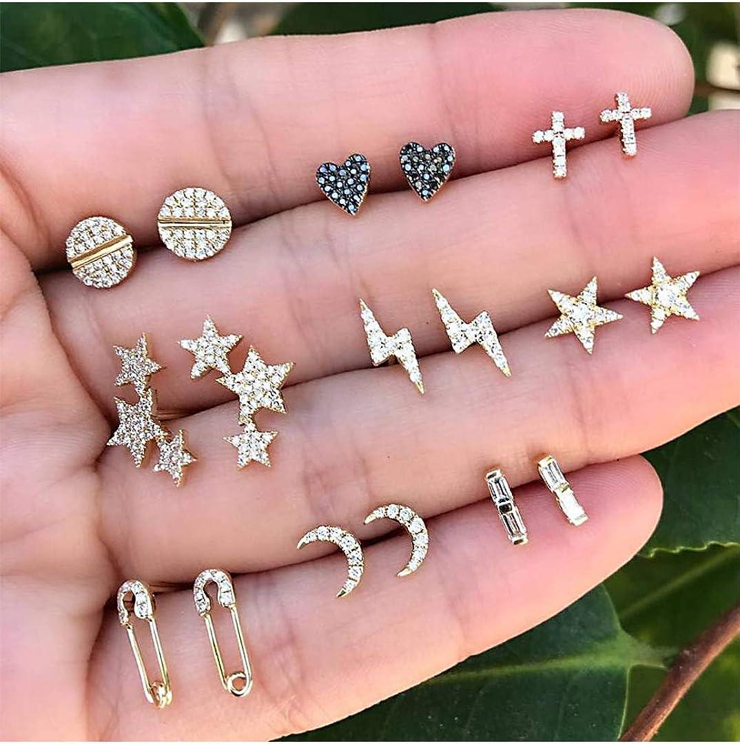 9 Pairs small Stud Earrings Sets Heart cross five-pointed star lightning bolt moon paper clip Earrings jewelry for women teen girls