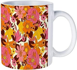 DKISEE Abstract Retro Nz Floral Coffee Mug Novelty 11oz White Ceramic Mug Birthday Christmas Anniversary Gag Gifts Idea