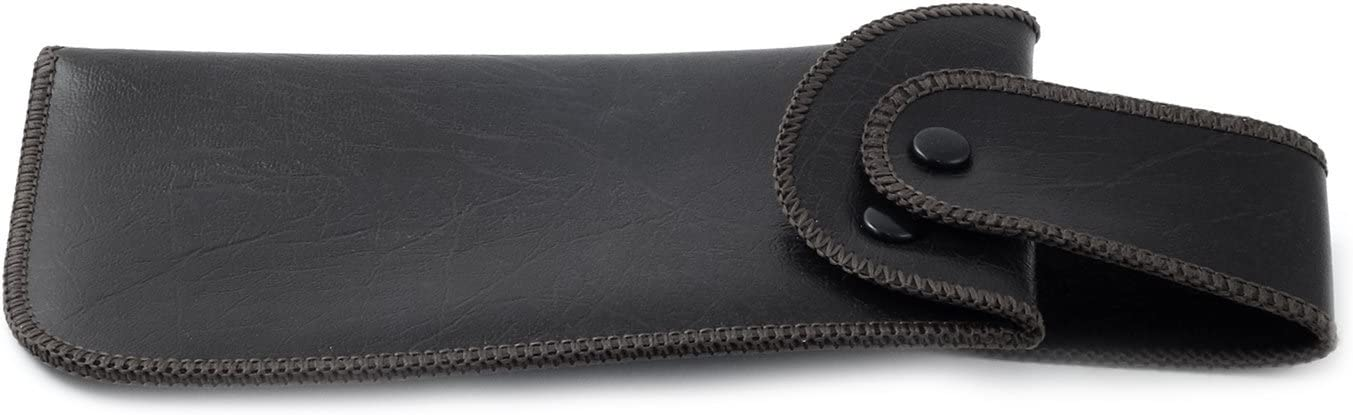 Soft Eyeglass Case Faux Leather, Attaches to Belt, Vertical (Black)