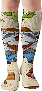 Western Wild West Art Stickers Icons The Arts American Objects Compression Socks Women & Men - Best For Running,Medical,Athletic Sports,Flight Travel, Pregnancy,19.68 Inch