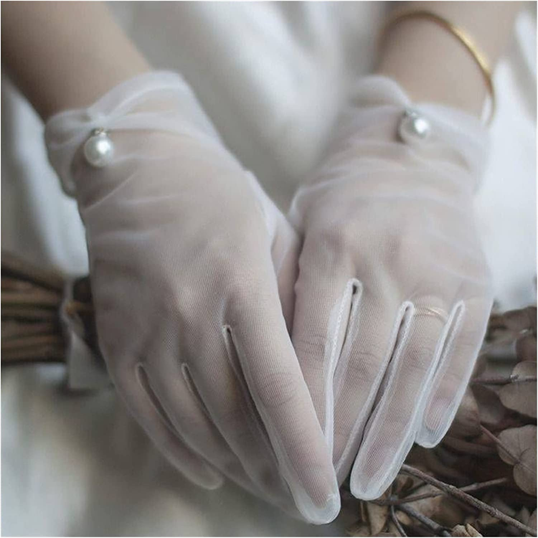 LANREN Women's Transparent Mesh Gloves Female Sunscreen Vintage Short Lace Driving Gloves (Color : 1, Gloves Size : One Size)
