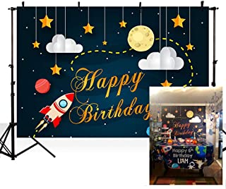 MEHOFOTO Cartoon Space Themed Photo Background Rocket Starry Sky Moon Cloud Boy Happy Birthday Party Decorations Banner Child Backdrops for Photography 7x5ft