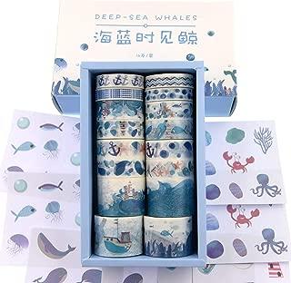 Watercolor Navy Blue Ocean Washi Masking Tape Bulk/Marine Whale Washi Tape Set for Traveler Notebook, Journal, Scrapbook, Crafting, Photo Album-16 Rolls (sea Life)