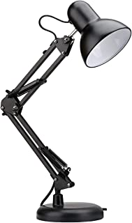 Wsxxn Swing Arm LED Desk Lamp, C-Clamp Table Light, Flexible Classic Architect Clamp-on, Black Painted