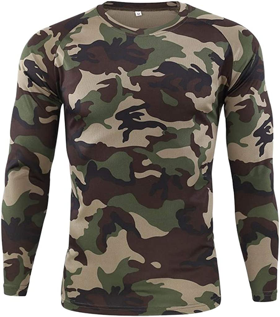 7789 Men's Outdoor Quick-Drying Camouflage Long Sleeves Utility Tops Blouse O Neck Summer Workout Fitness T-Shirts