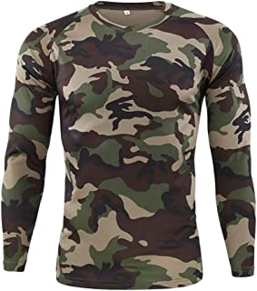 Mens Long Sleeve T-Shirt Casual Men O Neck Blouse Tactical Outdoor Quick-Drying Tops Tee Shirts