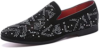 XueQing Pan Leisure Oxford for Men Smoking Loafers Slip on PU Leather Rubber Sole Pointed Toe Rhinestones Decor Wear-Resisting Beaded (Color : Black, Size : 9.5 UK)