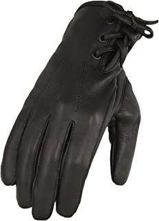Milwaukee Leather Women's Deerskin Lthr Riding Glove w/Laced Wrist-Black-Large