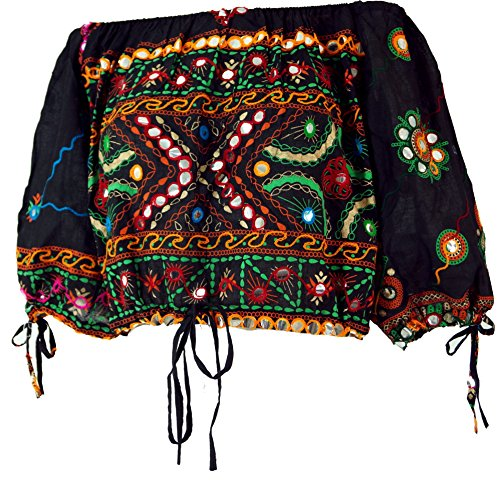 GURU-SHOP, Blusa Boho Chic, Blusa Hippie, Negra, Algodón, Tamaño:40, Blusas Tunikas