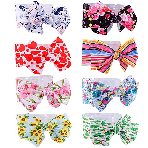 Baby Girl Headbands Turban with Knotted Bows, Hairbands for Newborn,Toddler and Children (CM-8pack)