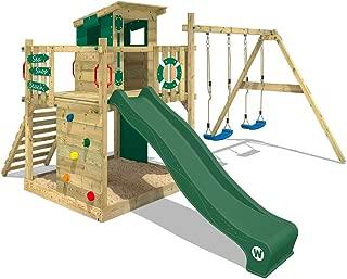 WICKEY Parque infantil de madera Smart Camp con columpio y tobogán azul Casa de juegos da exterior con arenero y escalera para niños verde
