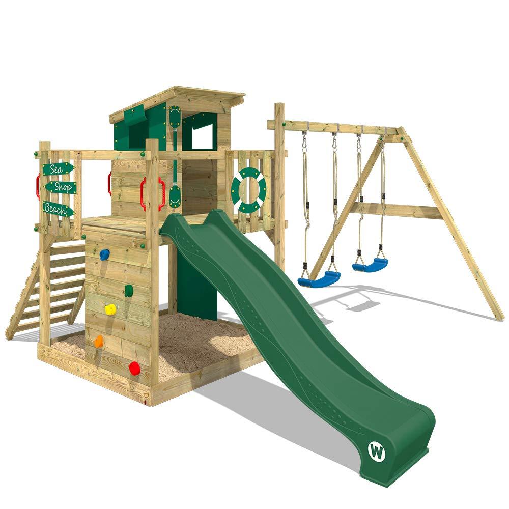 WICKEY Parque infantil de madera Smart Camp con columpio y tobogán verde, Casa de juegos de jardín con arenero y escalera para niños: Amazon.es: Bricolaje y herramientas