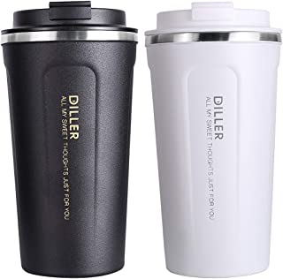 Diller Insulated Tumbler, Classic Coffee Travel Mug 15oz Car Thermos Gift for Men and Women Beer Pint Cup Keep 12H Hot & 24H Cold (15 OZ, Cream White)