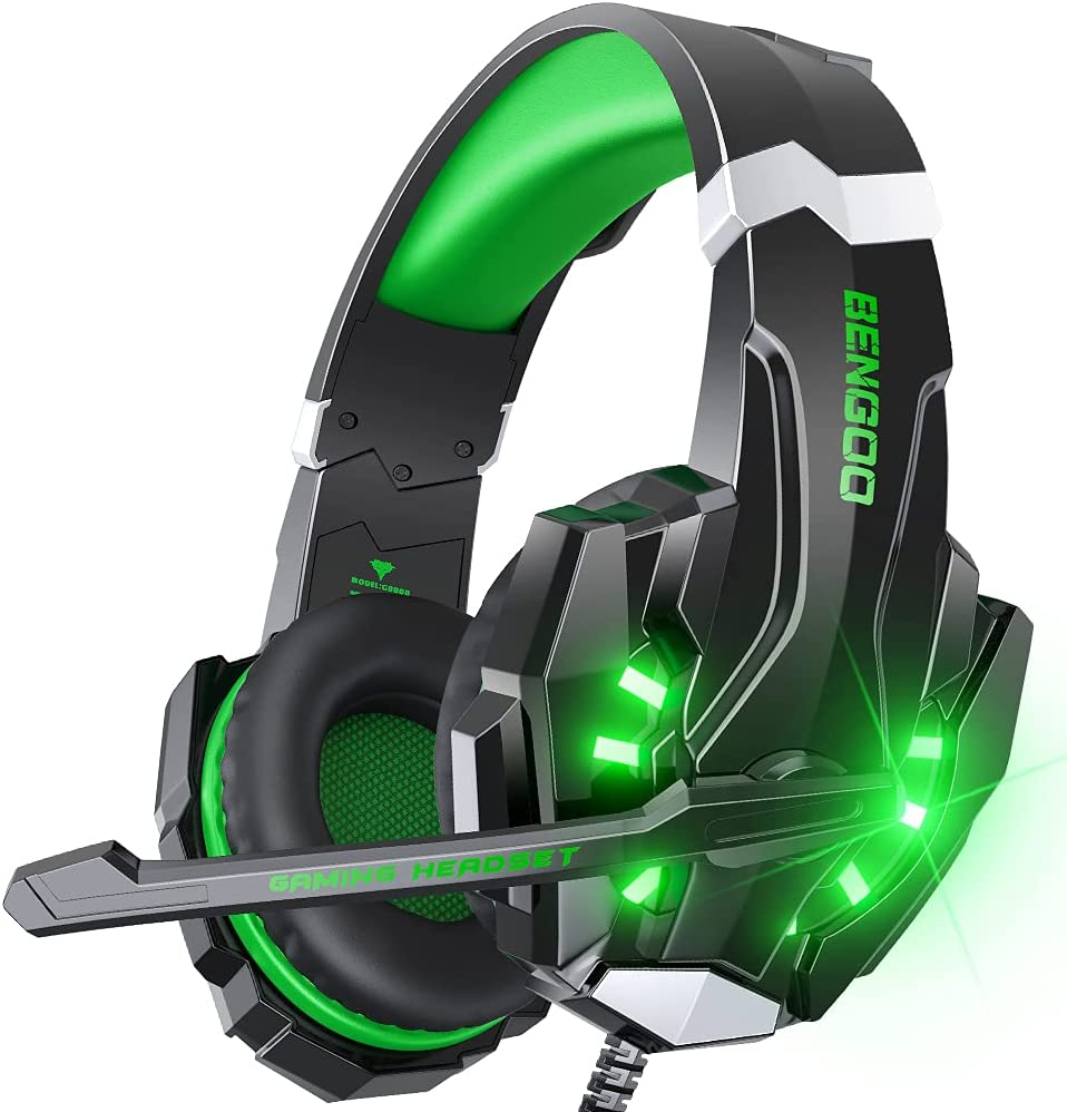 BENGOO G9000 Stereo Gaming Headset for PS4 PC Xbox One PS5 Controller, Noise Cancelling Over Ear Headphones with Mic, LED Light, Bass Surround, Soft Memory Earmuffs for Laptop Mac - Green