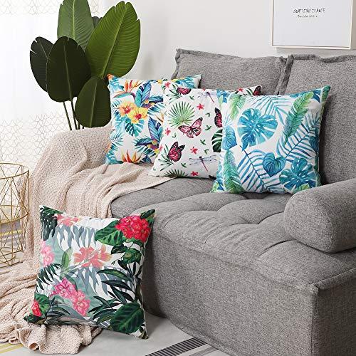 Artscope - Juego de 4 fundas de almohada decorativas de 45 x 45 cm, poliéster de alta calidad, para sofá, coche, dormitorio, decoración de hogar (flores y hojas A)