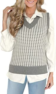 Women's Sweater Vest Houndstooth V-Neck Sleeveless Casual...