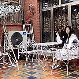YZ-YUAN Banco de jardín Muebles de Exterior Banco de jardín para terraza Asiento Doble de Metal para Exteriores, Banco de Parque de Metal para Todo Clima con reposabrazos y Respaldo, combinación de