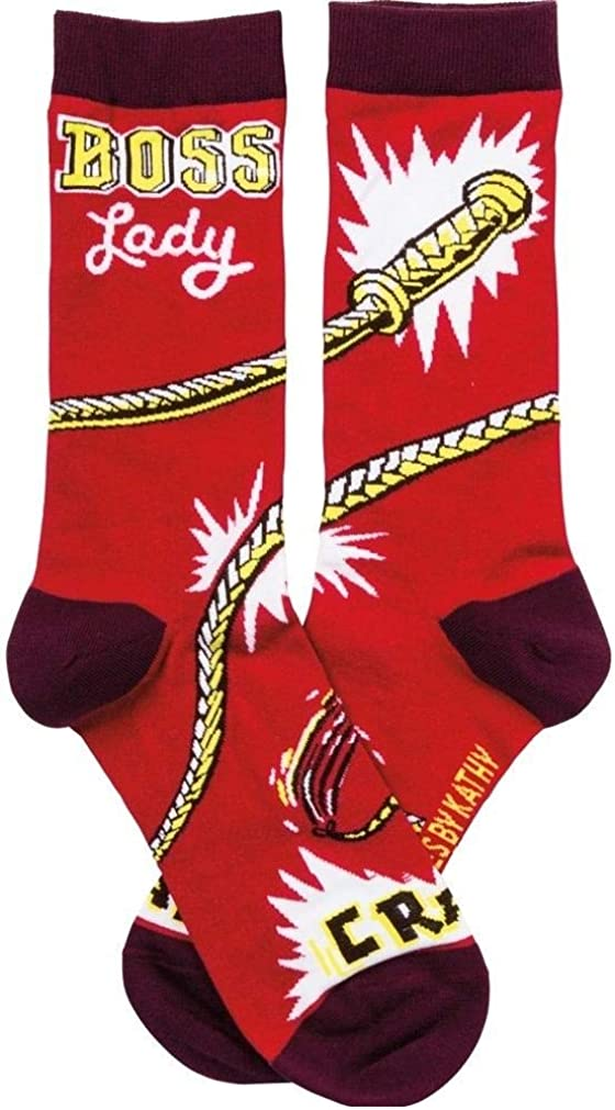 Mail order Primitives By Kathy Novelty Funky Womens Crew Lady Socks Boss Max 46% OFF