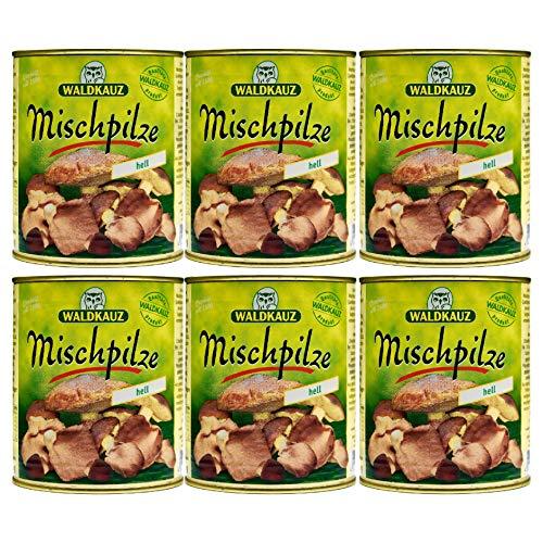 Food-United MISCHPILZE Hell 6 Dosen Füllmenge 800g ATG 455g eingelegte-Wild-Austern-Shiitake-Butter-Speise-Pilze-Konserve leicht vorgesalzen aromatisch für Pasta Soßen Pilzpfannen