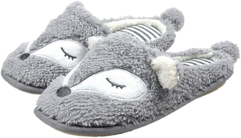 NOMIMAS Women's Warm Slippers Cartoon Cotton Plush Flat shoes Memory Foam Soles Anti Skid Predection Floor