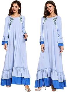 Abaya Muslim Women Embroidery Long Dress Islamic Maxi Party Kaftan Dubai Robe Gown Draped Flare Sleeve Patchwork Casual Ramadan