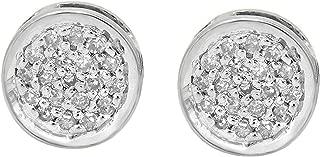 Dazzlingrock Collection 0.10 Carat (Ctw) 10K Gold Round White Diamond Ladies Circle Cluster Stud Earrings 1/10 CT