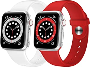 OUHENG 2 Pack Sport Band Compatible with Apple Watch Band 45mm 44mm 42mm 41mm 40mm 38mm, Soft Silicone Band Replacement Strap for iWatch Series 7/6/5/4/3/2/1 SE (White/Red, 45mm 44mm 42mm)