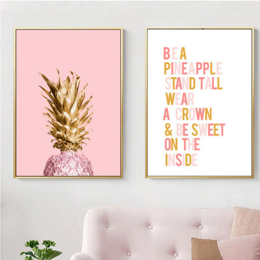 Bird Pink Golden Pineapple Wall Art Canvas Painting Quotes Nordic ...