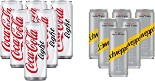 Coca-Cola Light Soft Drink, Cans - 6 X 330 ml With Soda Free - 6 X 250 ml