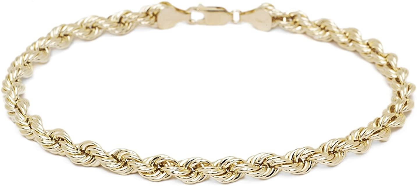 Floreo 10k Yellow Gold 2mm Hollow Rope Chain Bracelet and Anklet for Women and Girls