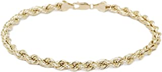 10k Yellow Gold Hollow Rope Chain Bracelet and Anklet for Women and Girls, 2mm