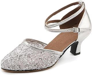 BOZEVON Women's Modern Closed Toe Net Yarn Ballroom Latin Wedding Party Dance Shoes