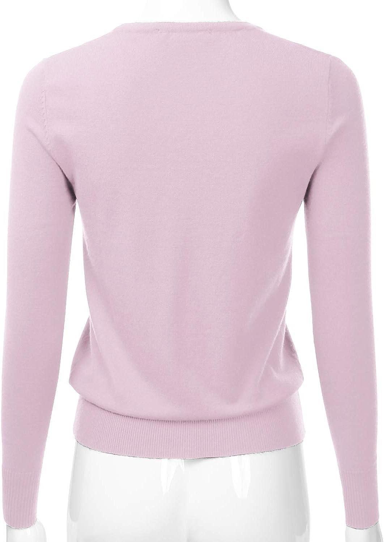 EIMIN Women's Button Down V-Neck Long Sleeve Soft Knit Cardigan Sweater (S-XL)