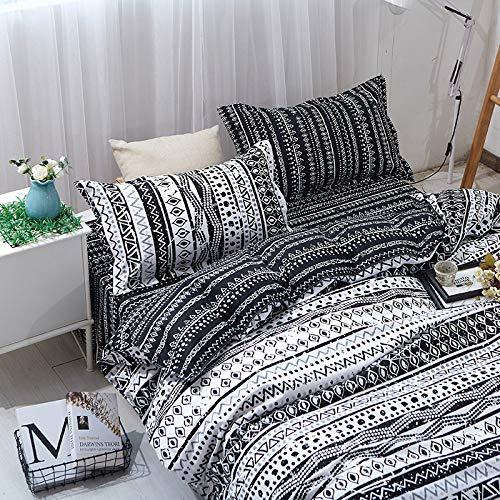 QXbecky Ropa de cama sábana a cuadros simple funda de almohada 4 piezas de algodón piel cálida suave y lisa con funda de almohada funda nórdica cama doble king bulliciosa JP-Single