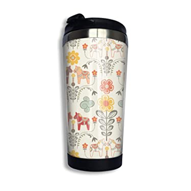 Floral Swedish Dala Horses Stainless Steel Vacuum Insulated Travel Coffee Mug Cup 14 Oz