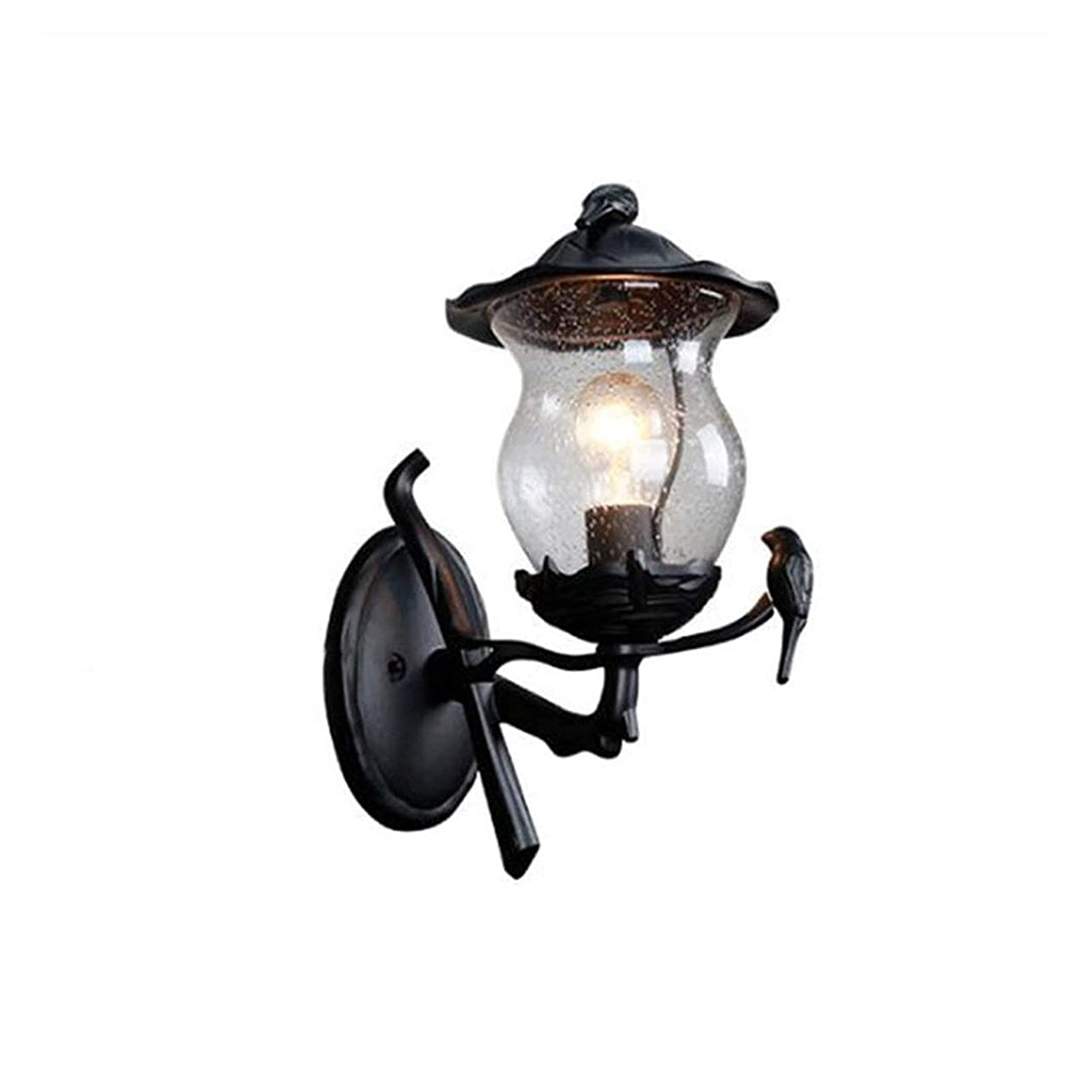 処理分散生まれ耐久性 水滴の装飾ガラスシェードとE27園庭芝生ランプ照明、屋外装飾ポストランプ、フロント/バックドアウォールランタン (Emitting Color : Wall lamp)