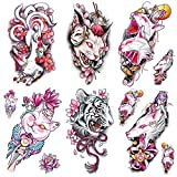 Oottati 6 Sheets Pink Japan Tiger Nine Tail Fox Weird Sphinx Cat Temporary Tattoos for Arm Leg