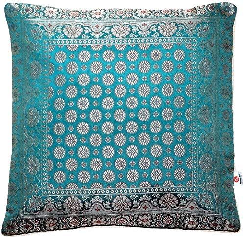 Handgemaakt turquoise-groen sierkussen van Indiase Banarasi zijde - 40 cm x 40 cm | 16 x 16 inch. ***Handgeweven en met de hand genaaid door ambachtslieden uit kasjmier India ***Onze merkspecialiteit***
