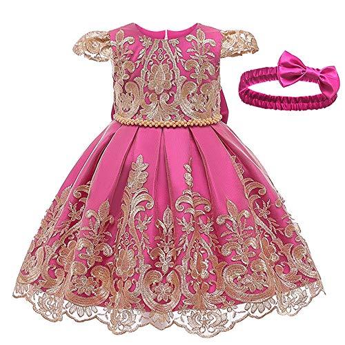 BAIDEFENG Niñas bebés Bordado Bowknot Vestido de Encaje Tul Flor Princesa Desfile Dama de Honor Boda cumpleaños Fiesta Vestido bebé Bautizo + Diadema-Rosa roja_100cm